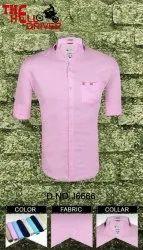 Cotton Collar Neck MEN PINK PLAIN SHIRT