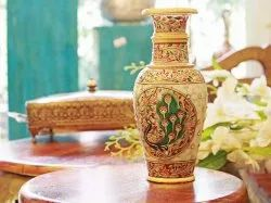 Marble Stone Work Vase with Rajasthani Handwork
