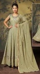 A-Line Stitched Tripta - Georgette Embroidery Readymade Suit, Wash Care: Handwash