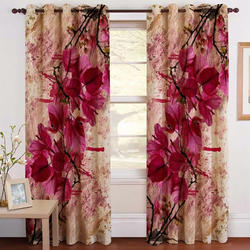 Flowery Pink Digital Curtain