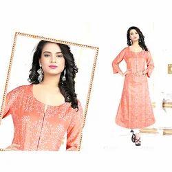 Cotton Peach Embroidered Ladies Kurti
