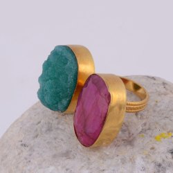 Sugar Druzy Ruby Gemstone 18k Gold Plated Handmade Adjustable Bezel Setting Ring