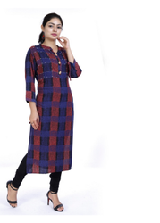 Formal Wear Straight Formal Rayon Kurti, Features: Buttons At The Neckline, Machine wash