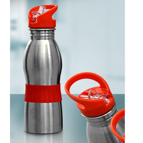 Silver And Orange Stainless Steel Curved Water Bottle, Size: 750ml, Capacity: 750 Ml