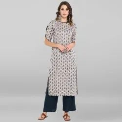 Grey Pure Cotton Kurta With Palazzo(SET174)