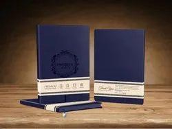 海军蓝色合成普皮革新年优质笔记本日记,为硬界,日常钞票,每月