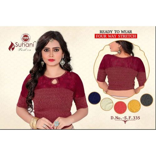 Cotton also available in Lycra Round Neck Cotton Fancy Blouse, Size: 32-36 Inch