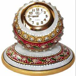 Vinayak Enterprieses Round Marble Analog Desk Clocks, For Home