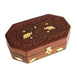 Teak Wood Octagonal Wooden Jewelry Box