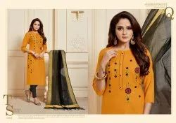 36 inch Unstitched Printed Cotton Churidar Suit Material, Machine wash