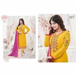 Ladies Yellow Printed Full Sleeve Suit