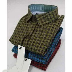 Men Cotton Slim Fit Check Shirt, Size: S-XL