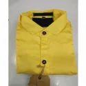 Plain Mens Yellow Cotton Shirt