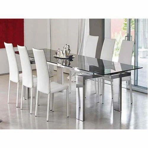 6 Feet X 4 Feet Glass Dining Table Set Seating World Id 19479826730