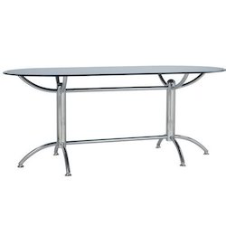 Star Chairs Black And Silver Double Pedestal Dining Table