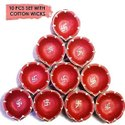 Handmade Traditional Terracotta Clay Diya Red With Swastik Design-10 Pc Set