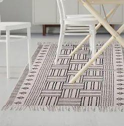 White Handmade Indian Cotton Rug Home Decor Floor Dari Yoga Mat Runner, Size: 3 X 5 Feet