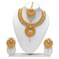 Wedding Gold Necklace Set, Packaging Type: Box