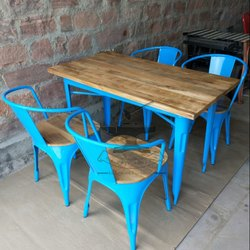 Iron And Wood 1 Table 4 Chairs Rustic Cafe Furniture, Size: 120x75x74 Cm