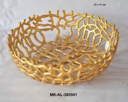 MKI Aluminum Gold Plated Fruit Bowl, Packaging Type: Individual Corrugated Inner, Size: 37 11 Cm