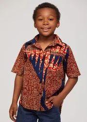 African Print Boys Button-Up Boy Cotton Wax Print Hippie Shirt Hippie Kids