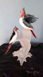 Handcrafted Glass Bird Statue for Interior Decor
