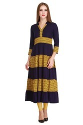 Cottinfab Women's Long Printed Kurta