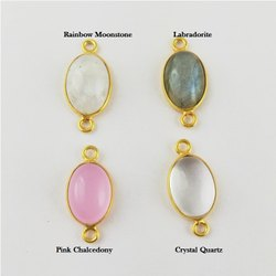 Gemstone Smooth Oval Bezel Connector - 9x13mm Gemstone 2 Loop Charms