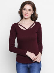Ladies Full Sleeves Cotton Plain T-Shirt