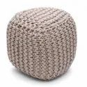 Jute Knitted Pouf