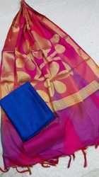 Sky And Pink Banarasi Silk Suit