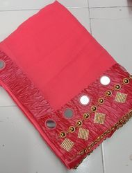 Georgette Mirror And Hand Work Borderd Pattern Pink Saree