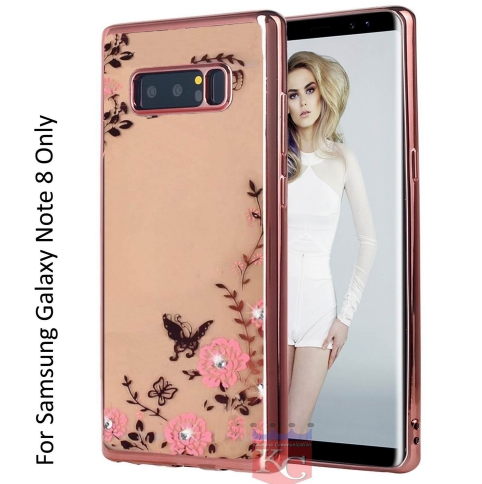 sale retailer 832df 4035d Auora Flower Case With Sparkle Crystals For Galaxy Note 8 Back Cover Rose  Gold