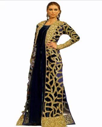 5011e1f01337 Dark Green Velvet Designer Jacket Style Long Gown