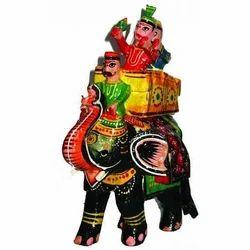 Wooden Decorative Elephant with Mahawat (Shahi Sawari)