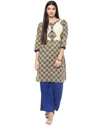 Cotton Cream Embroidered Kurta