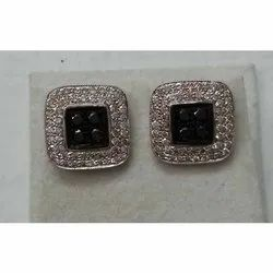 Sterling Silver Black Diamond Earrings/Silver Jewelry