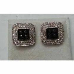 Sterling Silver Black Diamond Earrings/Silver Jewelry