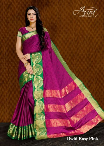 2a412e8b49 None Party Wear Aura Pure Cotton Silk Saree With Running Blouse, 6.3 m (With