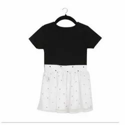 Party Wear Round Kids Girls Black And White Day Dress