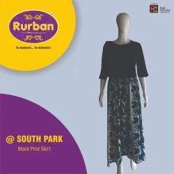 Rurban Printed Ladies Cotton Block Print Long Skirt, Size: XL