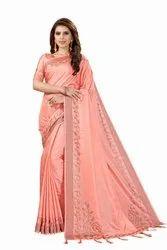 Wedding Banarasi Silk Stone Work Saree With Blouse