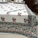 Indian Floral Hand Block Print Bed Sheet
