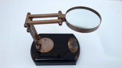 Vintage Antique Nautical Table Top Brass Magnifying Glass