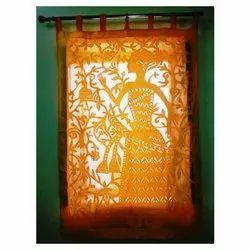 Applique Orange Cotton Window Curtain, Size: 48*88 Inch