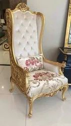 Star Wood Antique White Designer Chair, For Hotel, Back Style: Tight Back