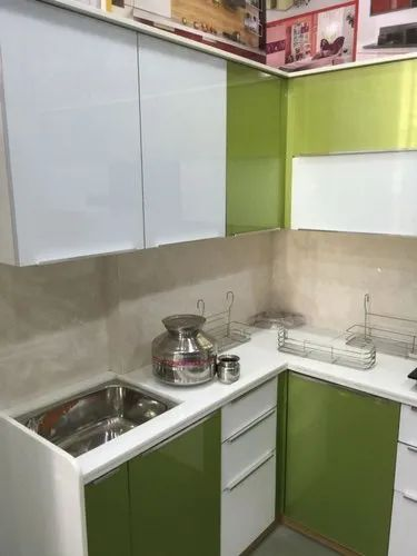 Parallel Shape High Glass Acrylic Modular Kitchen, Warranty: 1-5 Years