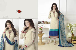 Embroidered Round Neck Suhati Salwar Suit Fabric