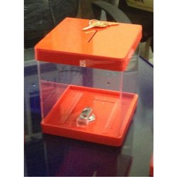 Jiya Transparent Orange Acrylic Donation Box With Lock