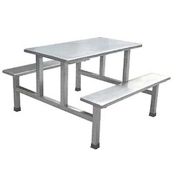 Stainless Steel Canteen Table, Shape: Rectangular